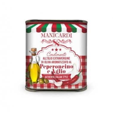 Condimento all'Olio Extra Vergine di Oliva aromatizzato al Peperoncino e Aglio - Manicardi